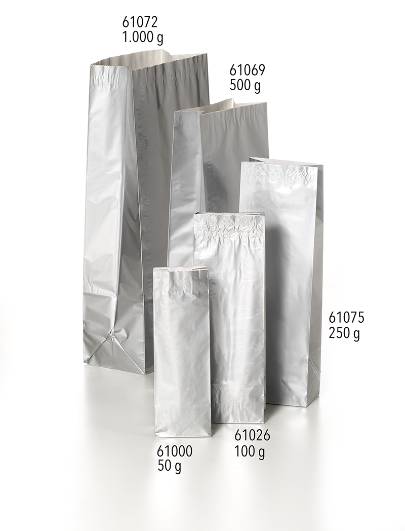 61069 tea bag 500g silver 105 65 290mm 500 g packaging