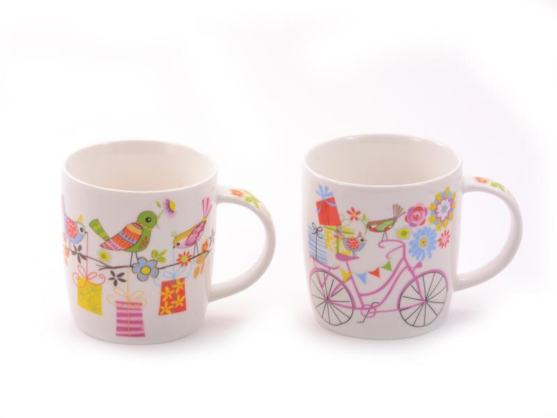 31499 Mug Jule New Bone China 2 Assorted Mugs Cups Accessories